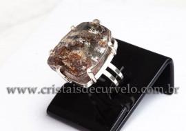 Anel Prata 950 Cristal Lodolita Natural Aro Ajustavel 112372