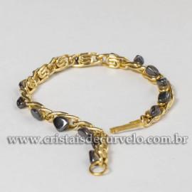 10 Pulseira Corrente Pedra rolada Colada Hematita Dourado ATACADO