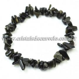 Pulseira Cascalho Pedra Obsidiana Negra Fio Silicone Reff 120432