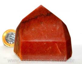 Ponta Quartzo Vermelho Pedra Natural de Garimpo Lapidado Manual Cod 304.4