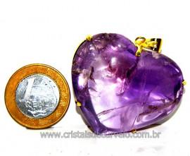 Pingente Gigante Coração Ametista na Garra Dourado Reff PG5938