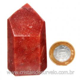 Ponta Quartzo Vermelho Natural Gerador Sextavado Cod 120135