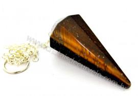 10 Pendulo Olho de Tigre Comum Pedra Facetado ATACADO REFF PA9575