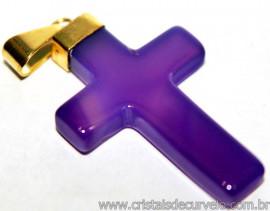 Crucifixo Agata Roxa Natural Montagem Dourada Reff PC4572