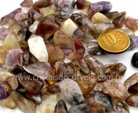 Super Seven Cacoxenita Rolado Pedra NaturalTamanho Medio Pacotinho 100 Gr