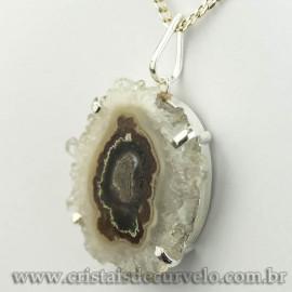 Pingente Flor de Ametista Pedra Natural Garra Prateado 120617