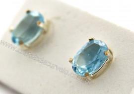 Brinco Prata 950 Pedra Topazio Azul Oval Facetado Trava Tarracha