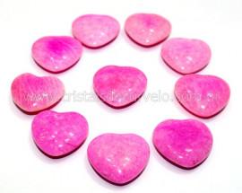 10 Coração Pedra AMAZONITA ROSA Furado Pra Montagem 23x25mm REFF CF3690