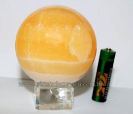 Esfera Calcita Mexicana Pedra Natural de Garimpo Lapidada Cod EM5264