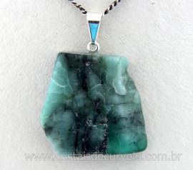 Pingente ESMERALDA Chapinha Mineral Natural Para Pulseira Montagem Prateado