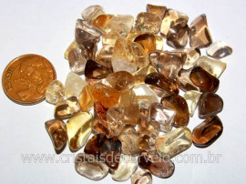 Citrino Não Bombardeado Miudo Pedra Rolado Pacotinho 20 Gr Mineral Natural