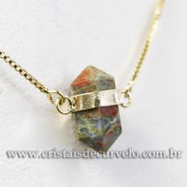 Colar Pedra Unakita Bi Ponta Natural Envolto Dourado 113140