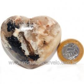 Coração Turmalina Preta Incrustada Amazonita Pêssego Cod 119004