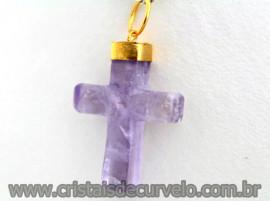 Crucifixo Ametista Pingente Cruz Pedra Natural  Banho Flash Dourado