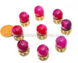 3 Bolinha Pedra Agata Rosa Natural 14mm Sem Furo REFF BS5414