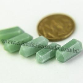 05 Micro Pontinhas Bi Ponta Cristal Verde 15mm pra montar joias