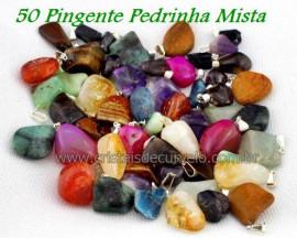 50 Pingente Pedra MISTO Pedrinha Rolado Pino Argola Flash Prateado  ATACADO