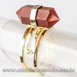 Anel Pontinha Jaspe Vermelho Bi Ponta Ajustavel Dourado 112580