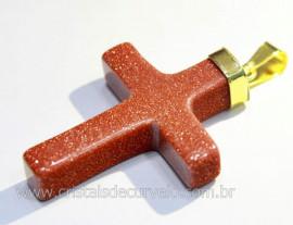 Crucifixo Pedra Do Sol Pingente Cruz Montagem Envolto Banho Flash Dourado