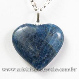 Pingente Coração Pedra Apatita Natural Pino Prata 950 113131