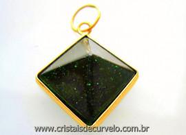 Pingente Piramide Pedra Estrela Verde Castoação Envolto Flash Dourado