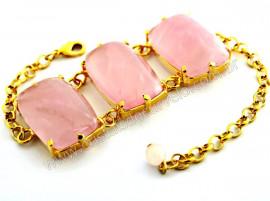 Bracelete 03 Pedras Quartzo Rosa Retangular Dourado REFF BR2927