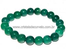 Pulseira Bolinha Pedra Agata Verde Rolada Fio Silicone PB8968