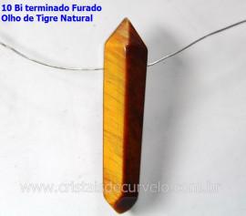 10 Bi Terminado OLHO DE TIGRE Furado Para Pingente de Colar Furo Vazado Lateral Tamanho 2.5  Cm