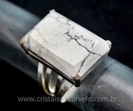Anel Prata 950 Pedra Howlita Multifacetado Aro Ajustavel ao Dedo REFF 19.4