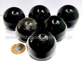 01 Esfera Obsidiana Negra Pedra Lava Vulcânica Tamanho REFF 4CM