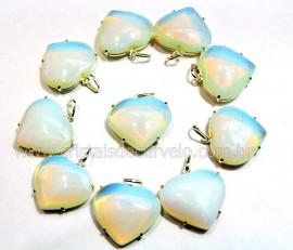 5 Pingente Coração Pedra da Lua Opalina Prata 950 Garra CP1017