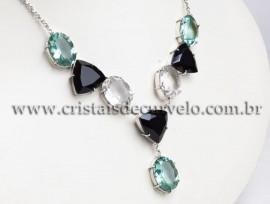 Maxxi colar Obsidiana 8 Gemas Facetadas Prata 950 111575