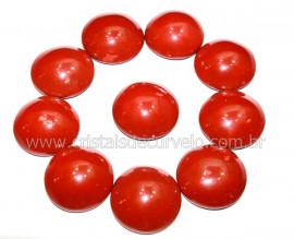 10 Disco Cabochao pra Pingente Pedra Jaspe Vermelho Lapidado Calibrado 22 MM