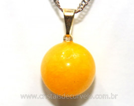 Pingente Bolinha Pedra Agata Amarela Pino Dourada Ref PB3269