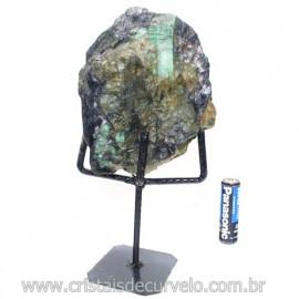 Esmeralda Canudo Pedra Natural com Suporte De Ferro Cod 121538