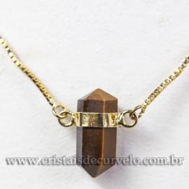 Colar Pedra Olho de Tigre Micro Bi Ponta Natural Envolto Dourado