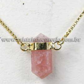 Colar Pedra Quartzo Goiaba Micro Bi Ponta Natural Envolto Dourado