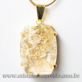 Pingente Pedra Cristal Lodolita Baguette Garra Dourada 112944