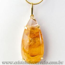 Pingente Gota Hematoide Amarelo Pedra Garra Dourado 112542