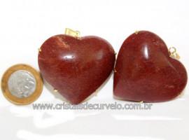 Pingente Gigante Coração Quartzo Vermelho na Garra Dourado Reff 110772