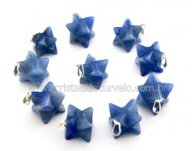 10 Merkaba Pingente Quartzo Azul Atacado Pino Prateado Reff PM3309