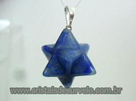 Merkaba Pingente Pedra Quartzo Azul Presilha Prateado