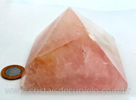 Piramide Quartzo Rosa Baseada Queops Pedra Comum Lapidado Manual Cod 877.3