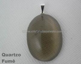 Pingente Cabochão QUARTZO FUMÊ Pedra Natural Pino Banho Prata