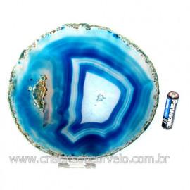 Chapa de Agata Azul  Porta Frios Bandeja Pedra Natural 123420
