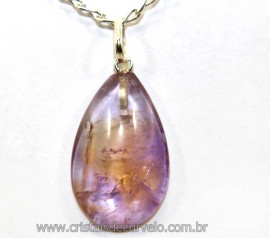 Pingente Gota Pedra Ametrino Pino Prata 950 Reff 106296