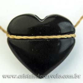 Pingente Pedra Coração Obsidiana Negra Difusor Aromaterapia