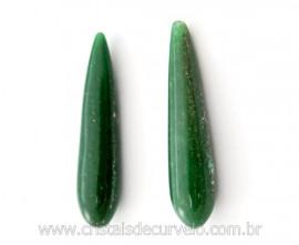 4 Pares Gota Longa pra Pingente ou Brinco Pedra Quartzo Verde Lapidado 35 x 8 mm