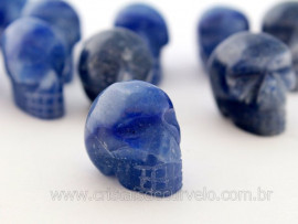 Cranio Não Pingente Pedra QUARTZO AZUL Esculpido em Pedra Natural Pequeno