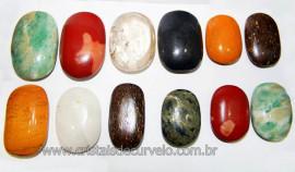 20 Massageador Sabonete Pedra Mistas 6 a 8cm Terapeutica